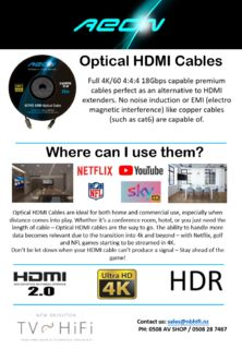 4K HDR Long Distance OPTICAL Cables