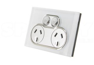 4025-PW  Outlet Double 10a 250v